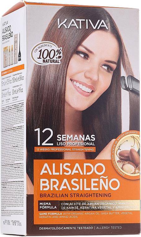 Set pentru îndreptarea părului cu keratină - Kativa Alisado Brasileno Con Glyoxylic & Keratina Vegetal Kit (shm/15ml + mask/150ml + shm/30ml + cond/30ml)