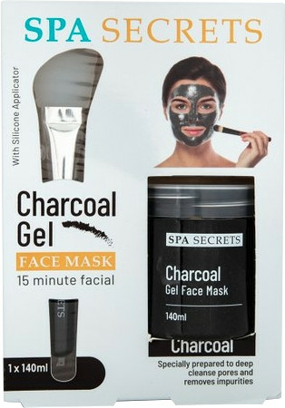 Set - Spa Secrets Charcoal Gel Face Mask (mask/140ml + brush/mask/1pcs)