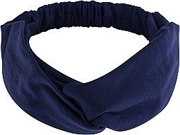 "Parfumuri și produse cosmetice Bentiță din tricotaj, albastru-închis ""Knit Twist"" - MakeUp Hair Accessories"