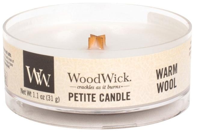Lumânare aromată în suport de sticlă - Woodwick Petite Candle Warm Wool — Imagine N1