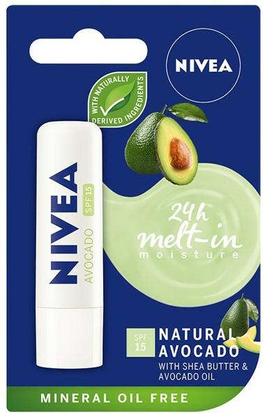 """Balsam de buze """"Avocado"""" - Nivea 24H Melt-in Natural Avocado Lip Balm SPF15"""