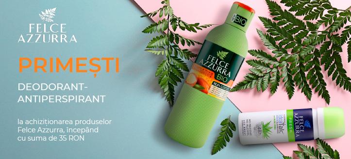 La achiziționarea produselor Felce Azzurra, începând cu suma de 35 RON,  primești în dar un deodorant-antiperspirant la alegere