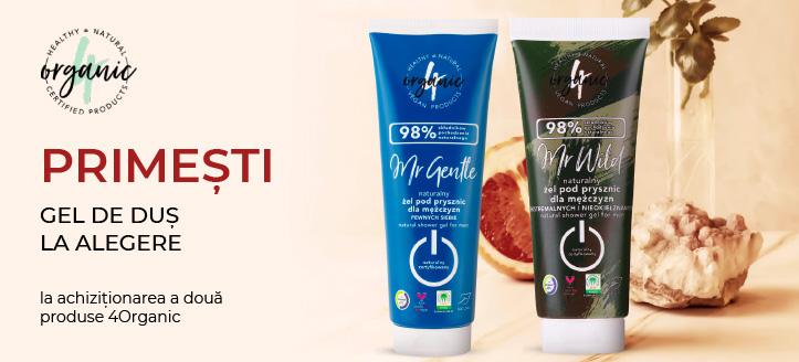 La achiziționarea a două produse 4Organic, primești cadou un gel de duș la alegere