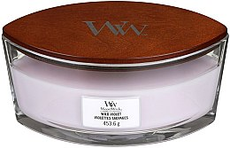 Lumânare aromată în suport de sticlă - Woodwick Hearthwick Flame Ellipse Candle Wild Violet — Imagine N2