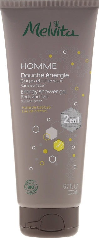 Gel de duș 2 în 1 - Melvita Homme Energy Shower Gel — Imagine N1