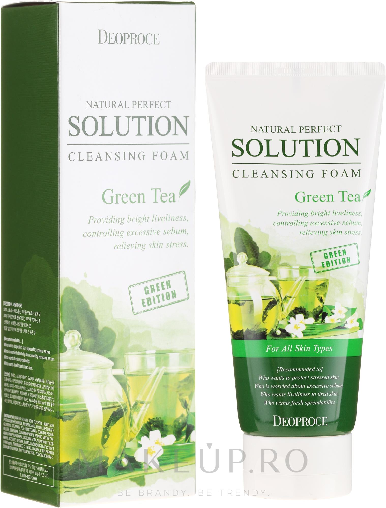 Spumă de curățare cu extract de ceai verde - Deoproce Natural Perfect Solution Cleansing Foam Green Tea — Imagine 170 g