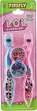 Parfumuri și produse cosmetice Set periuțe de dinți, moi, albastră+roz - Ep Line LOL Surprise (toothbrush/2szt + case/2szt)