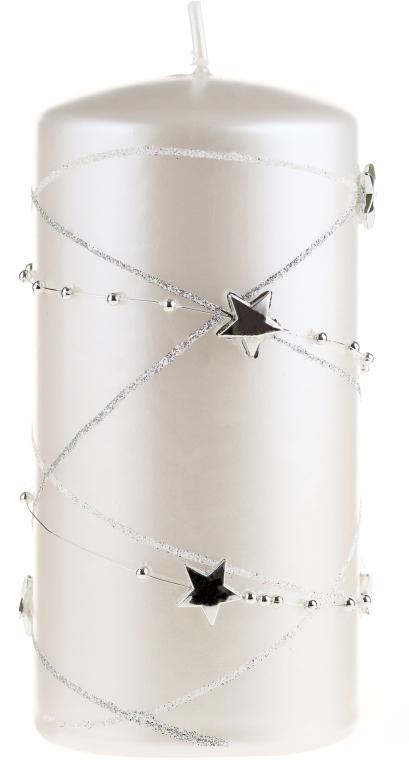Lumânare aromată, albă, 18x7 cm - Artman Christmas Garland — Imagine N1