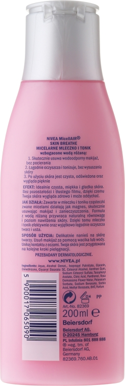 Tonic-Lăptișor micelar + apă de trandafir - Nivea MicellAir Skin Breathe — Imagine N2