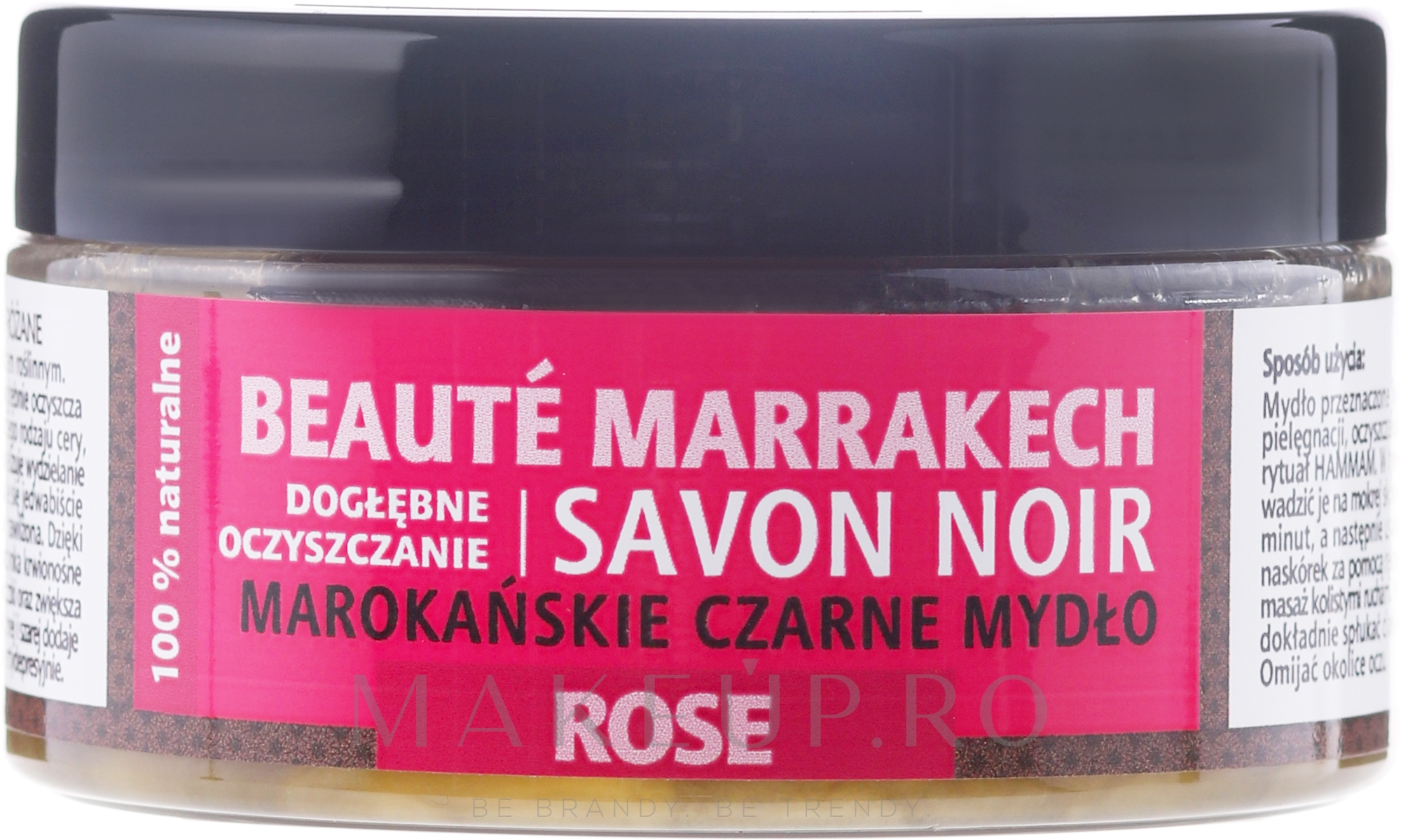 "Săpun natural negru ""Rose"" - Beaute Marrakech Savon Noir Moroccan Black Soap — Imagine 100 g"