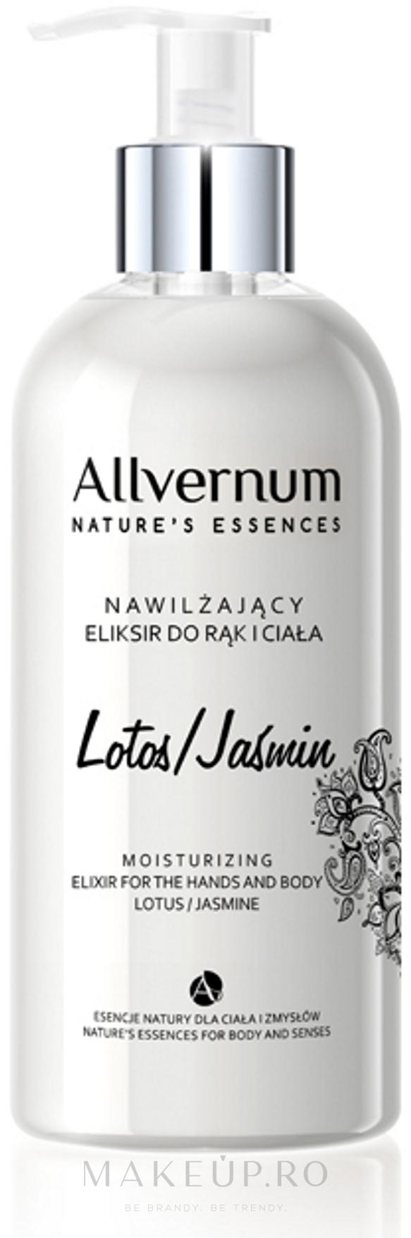 """Elixir pentru mâini și corp """"Lotus și Jasmine"""" - Allvernum Allverne Nature's Essences Elixir for Hands and Body — Imagine 300 ml"""