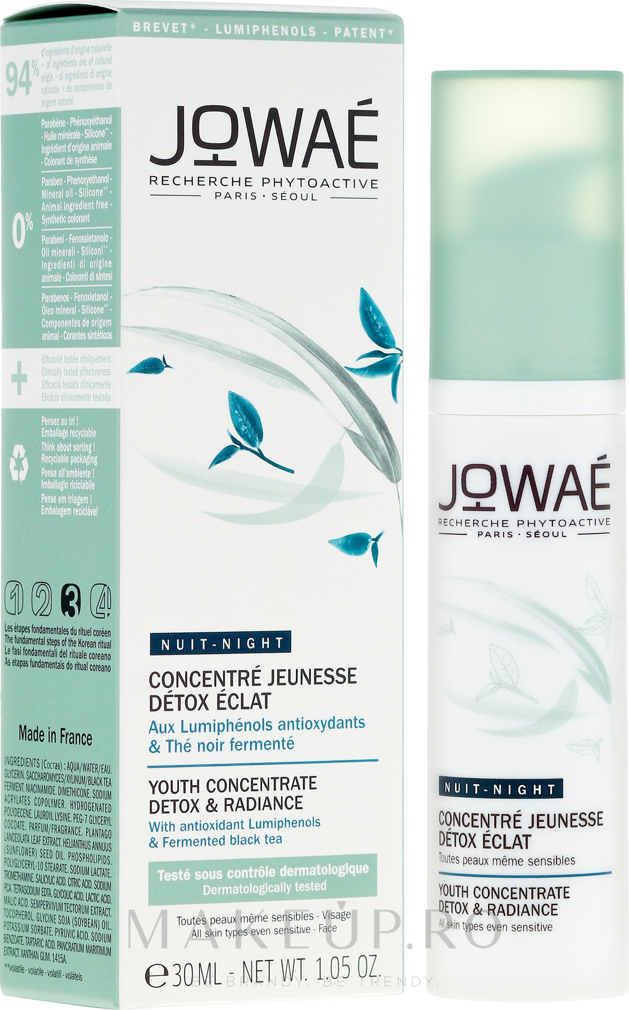 Ser pentru față - Jowae Night Youth Concentrate Detox & Radiance — Imagine 30 ml