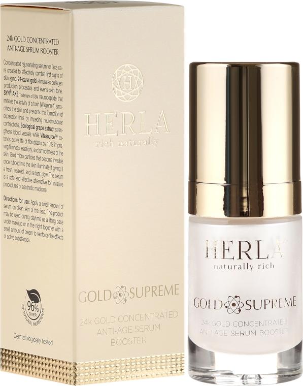 Ser pentru față - Herla Gold Supreme 24K Gold Concentrated Anti-Age Serum Booster — Imagine N1