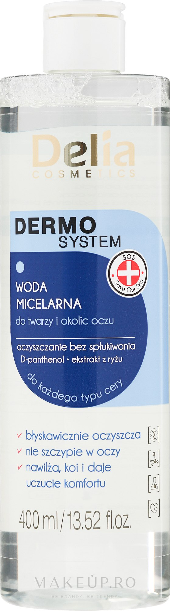 Loțiune micelară pentru îndepărtarea machiajului - Delia Dermo System Micellar Makeup Remover — Imagine 200 ml