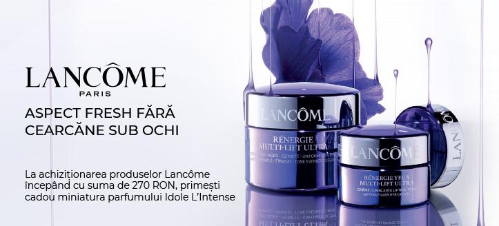 La achiziționarea produselor Lancôme începând cu suma de 270 RON, primești cadou miniatura parfumului Idole L'Intense