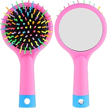 Parfumuri și produse cosmetice Perie cu oglindă pentru păr, roz - Twish Handy Hair Brush with Mirror Rose Pink