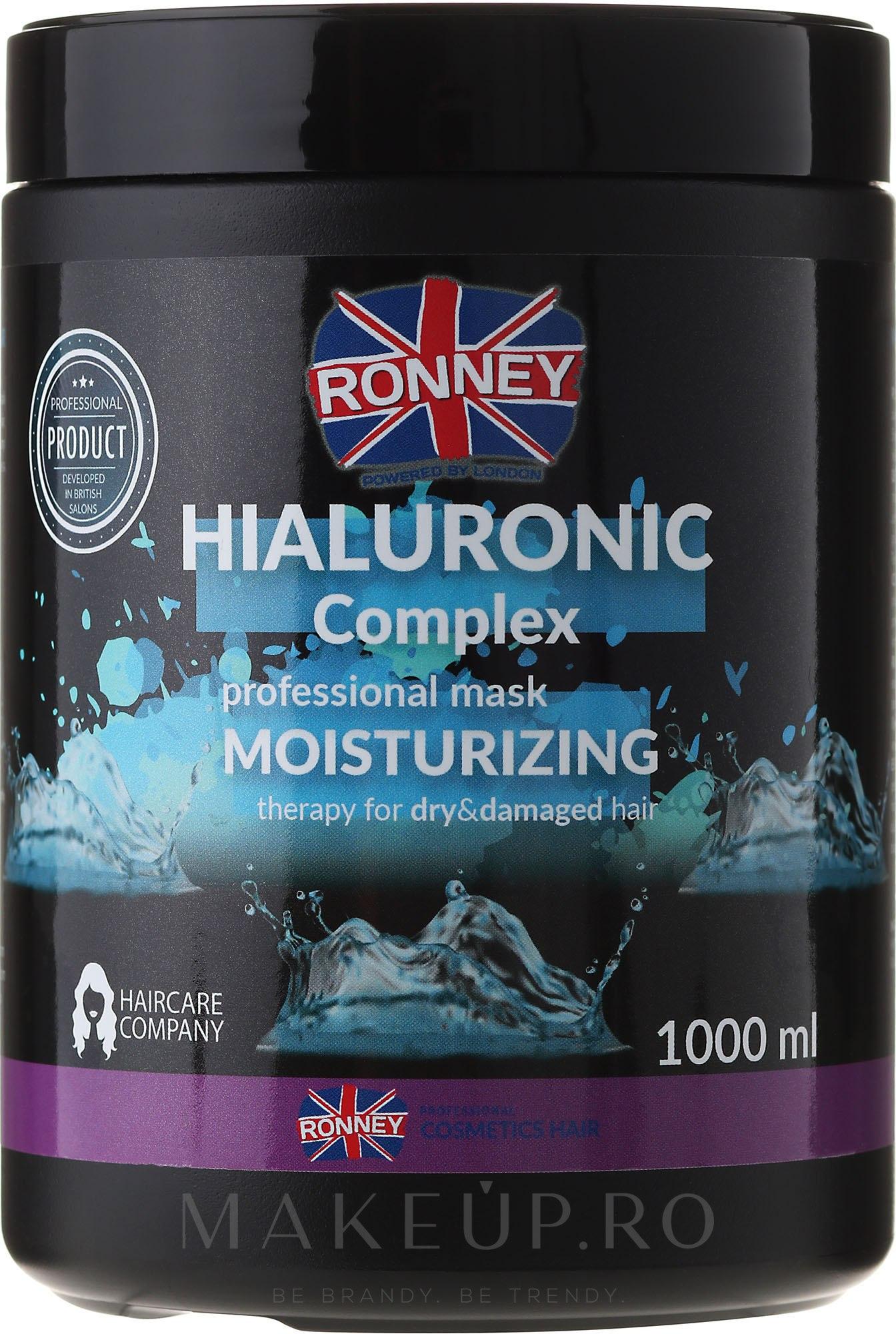 Mască de păr - Ronney Professional Hialuronic Complex Moinsturizing Mask — Imagine 1000 ml