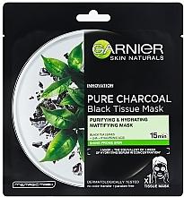 Parfumuri și produse cosmetice Mască neagră de țesut pentru piele grasă - Garnier Pure Charcoal Tissue Mask