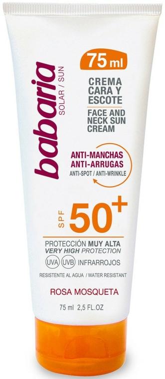 Cremă cu protecție solară pentru față și gât - Babaria Face and Neck Sun Cream Spf 50 — Imagine N1