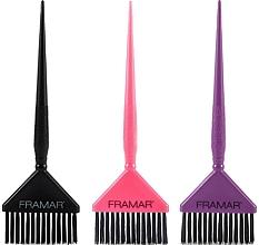 Parfumuri și produse cosmetice Set pensule late pentru vopsit părul, neagră, roz, mov - Framar Big Daddy Brush Set