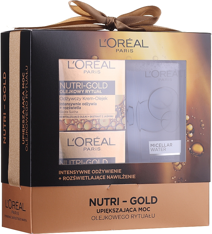 Set - Loreal Nutri Gold (cr/mask 50 ml + cr/oil 50 ml + micell/wat 200 ml)