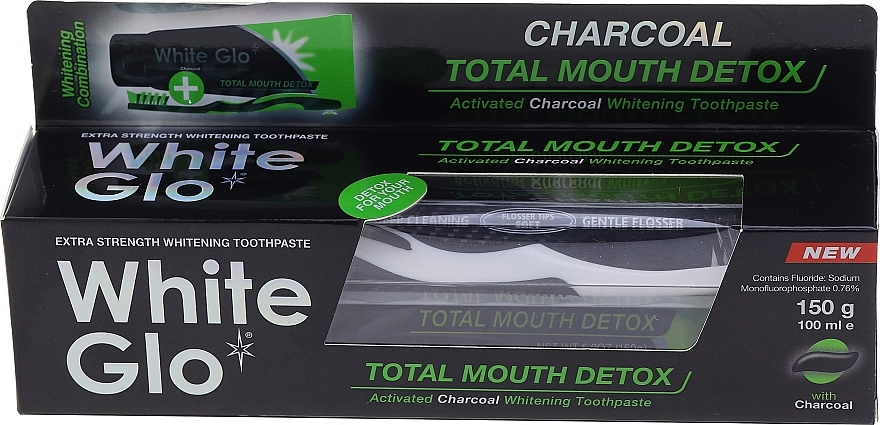 Set cu periuță alb-neagră - White Glo Charcoal Total Mouth Detox (toothpaste/150g + toothbrush) — Imagine N1