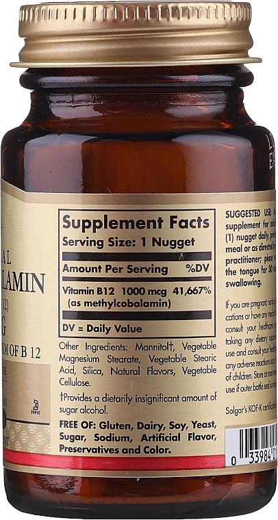 """Vitamine """"Metilcobalamina sublinguală"""" - Solgar Sublingual Methylcobalamin 1000 mcg — Imagine N2"""