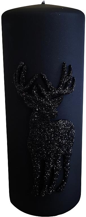 Lumânare decorativă, neagră, 7x18 cm - Artman Jelen Application (Deep Application) — Imagine N1
