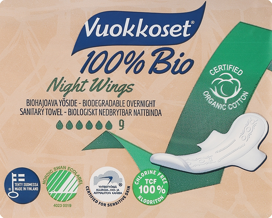 Absorbante, 9 bucăți - Vuokkoset Bio Night Wings — Imagine N1
