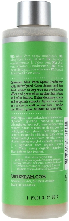 "Balsam-spay revitalizant pentru păr ""Aloe Vera"" - Urtekram Regenerating Aloe Vera Spray Conditioner — Imagine N3"