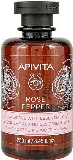 """Gel cu uleiuri esențiale pentru duș """"Trandafir și Piper"""" - Apivita Shower Gel Rose & Black Pepper"""