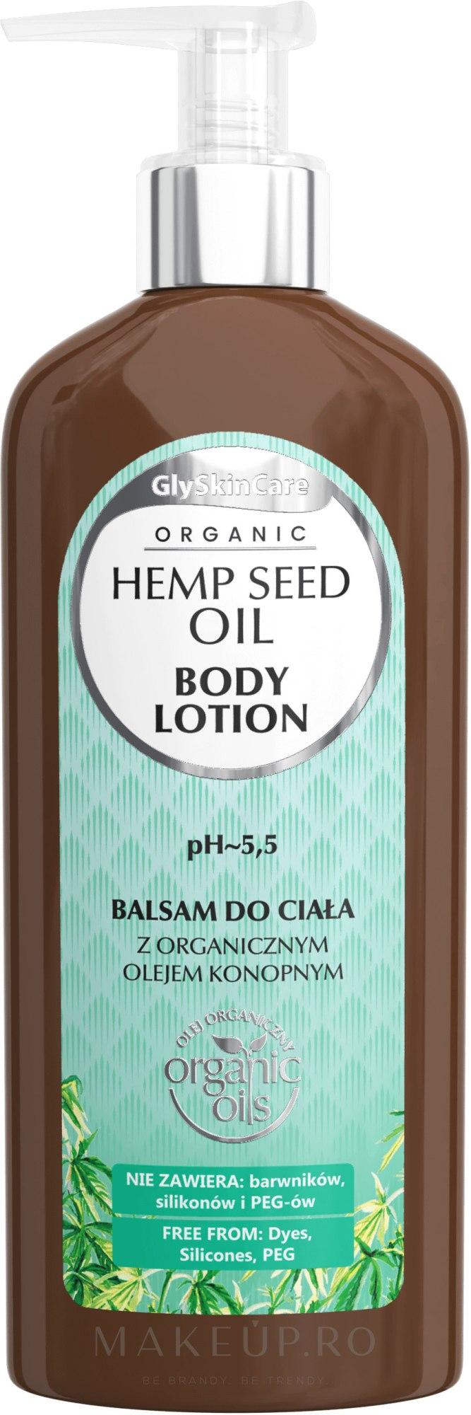 Loțiune cu ulei organic de cânepă pentru corp - GlySkinCare Hemp Seed Oil Body Lotion — Imagine 250 ml