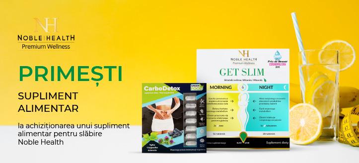 La achiziționarea unui supliment alimentar pentru slăbire Noble Health, primești cadou un supliment alimentar pentru susținerea procesului de detoxifiere a corpului