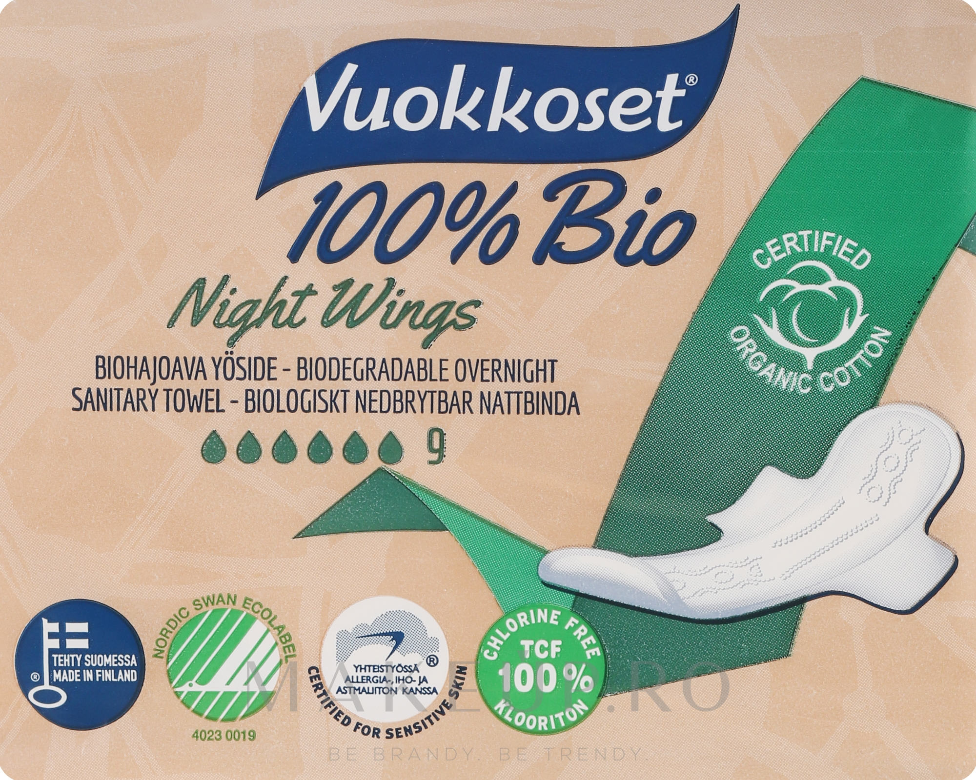 Absorbante, 9 bucăți - Vuokkoset Bio Night Wings — Imagine 9 buc