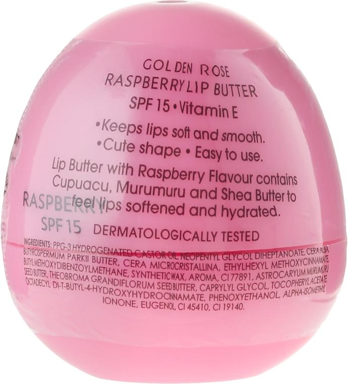 Balsam cu ulei și zmeură pentru buze - Golden Rose Lip Butter SPF15 Raspberry