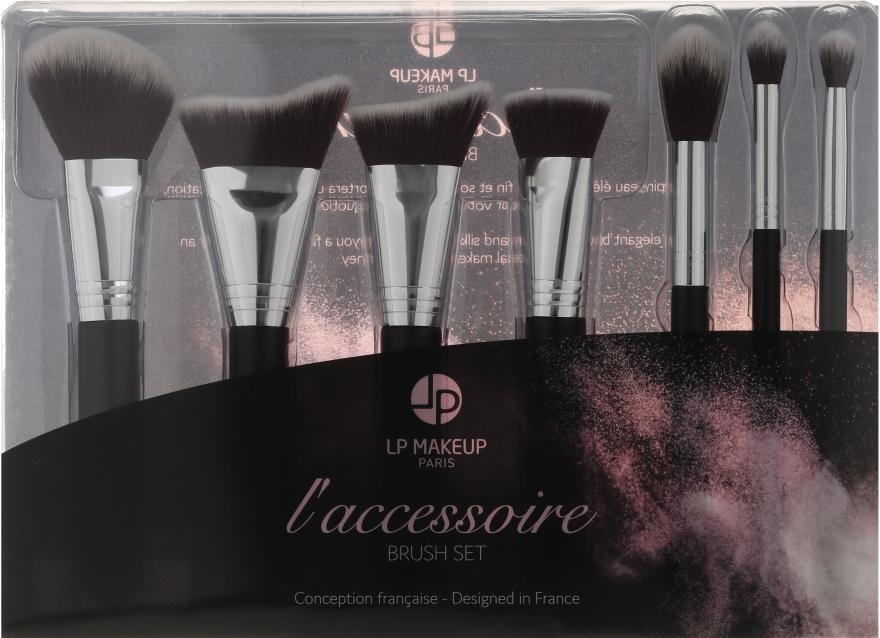 Set pensule de machiaj, 7 piese - LP Makeup Set Of Seven Professional Brushes L'accessoire With Leather Bag
