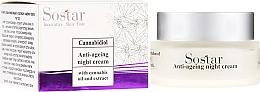 Parfumuri și produse cosmetice Cremă anti-îmbătrânire cu extract de cânepă de noapte pentru față - Sostar Cannabidiol Anti Ageing Night Cream With Cannabis Extract