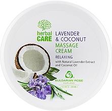 Parfumuri și produse cosmetice Cremă pentru masaj, cu efect relaxant - Bulgarian Rose Herbal Care Lavender & Cococnut Massage Cream