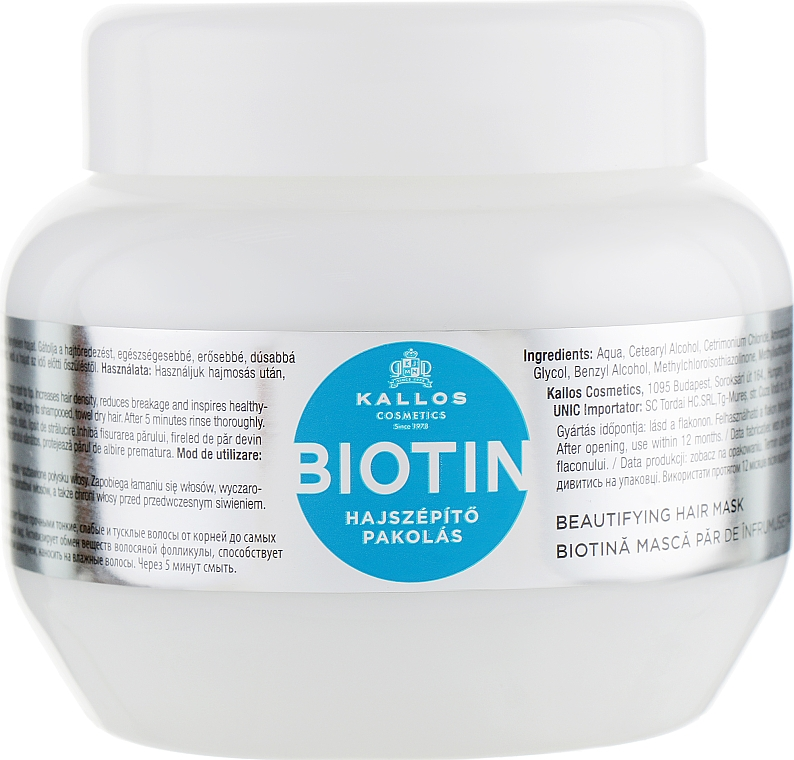 Mască pentru sporirea creșterii părului, cu biotină - Kallos Cosmetics Biotin Beautifying Mask