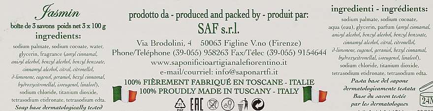 "Set săpunuri ""Iasomie"" - Saponificio Artigianale Jasmine Scented Soap (soap/3pcsx100g) — Imagine N2"