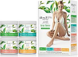 Parfumuri și produse cosmetice Set de îngrijire cu extract de arbore de ceai - IBD Spa Pro Pedi Tea Tree Purify Spa Intro Kit (soak/180g + scr/180g + mask/120ml + lot/124ml)