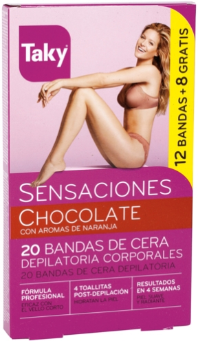 Benzi depilatoare de ceară pentru corp - Taky Chocolate Body Wax Strips With Orange Fragrance Box