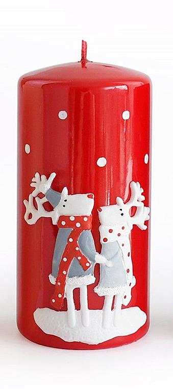 Lumânare decorativă, roșie, 7x18 cm - Artman Reindeers — Imagine N1