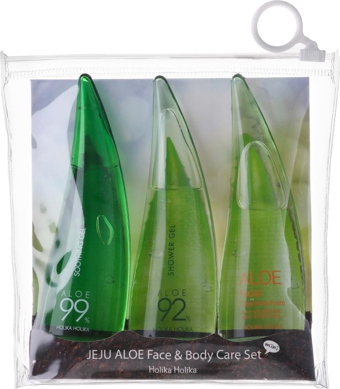 Set - Holika Holika Aloe Face And Body Care Set (foam/55ml + gel/55ml + sh/gel/55ml)