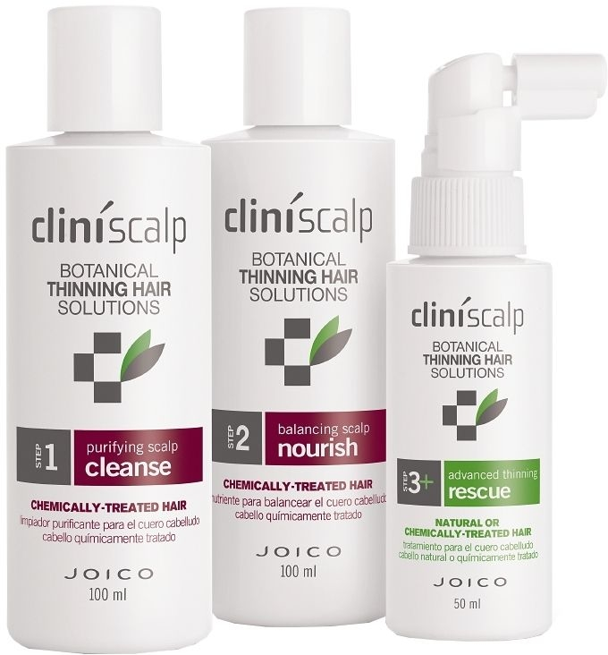 Set împotriva cheliei, păr vopsit - Joico Cliniscalp 3-step Trial Kit For Chemically Treated Hair Advanced Stages (shmp/100ml + cond/100ml + treat/50ml) — Imagine N2