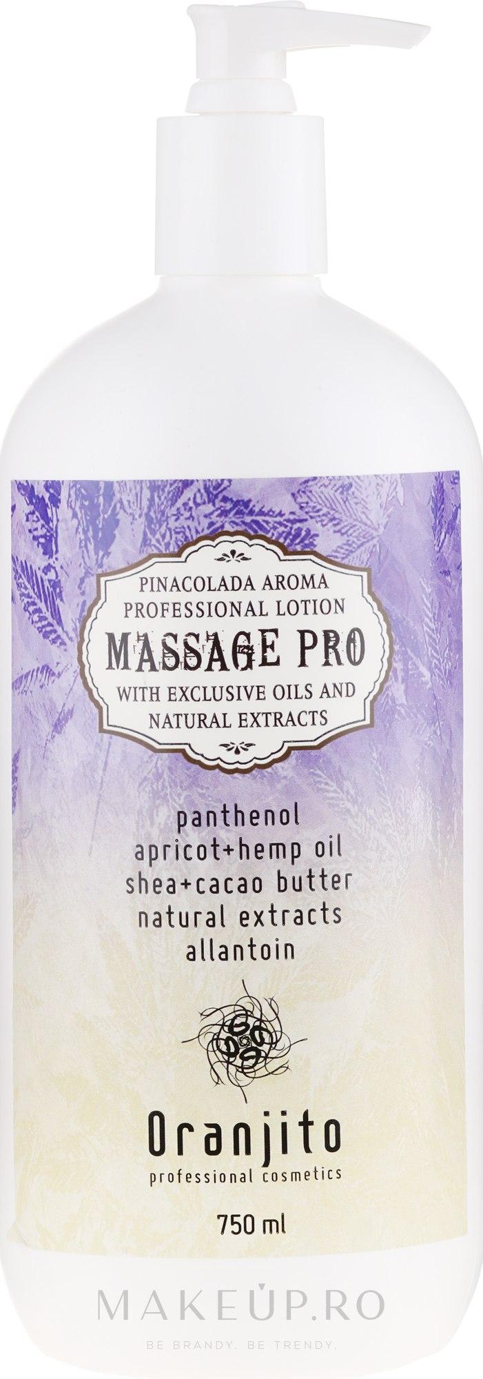 "Lapte pentru masaj ""Pina Colada"" - Oranjito Massage Pro Pina Colada Massage Body Milk — Imagine 750 ml"