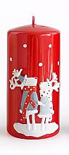 Parfumuri și produse cosmetice Lumânare decorativă, roșie, 7x14 cm - Artman Reindeers