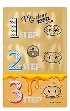 Parfumuri și produse cosmetice Mască pentru curățarea tenului - Holika Holika Pig Nose Clear Black Head 3-Step Kit Honey Gold