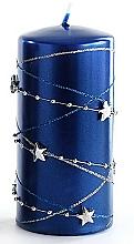 Parfumuri și produse cosmetice Lumânare decorativă, albastră închis, 7x10 cm - Artman Christmas Garland