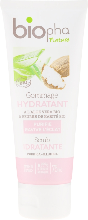 Scrub hidratant cu unt de shea pentru față - Biopha Nature Scrub Idratante — Imagine N1